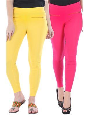 Bitterlime Bljeggcom04 Yellow-Pink Women Jegging Combo Pack