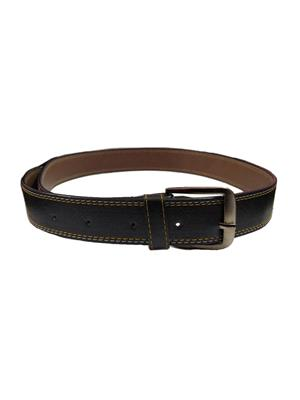 Ansh Fashion Wear BLK-A Black Men Belt