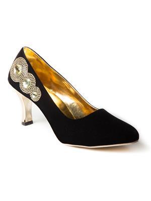 Mango People Bls-014-Bk.Gd Golden-Black Women Heels