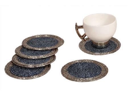 HOMEZ BLSC001 Silver Beaded Tea Coaster Set of 6