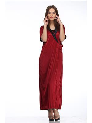Belle Nuits BN2P3570014MROBE Maroon Women  Poly Sat Robe Nightwear