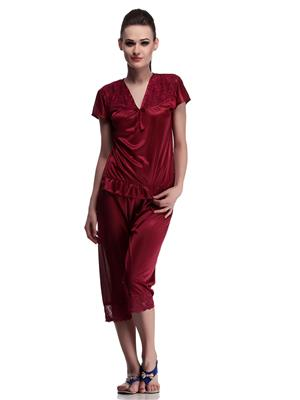 Belle Nuits BNCP3770034CH Maroon Women Nighty and Capri Set