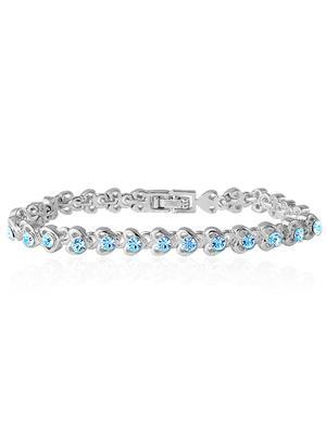Mahi Fashion Jewellry Tiny Hearts Blue Stone Bracelet