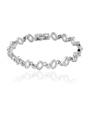Mahi Fashion Jewellery  Shimmering Ellipse White Stone Bracelet