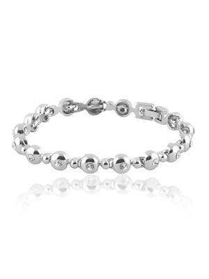 Mahi Fashion Jewellery  Round Balls White Stone Bracelet