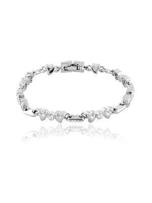 Mahi Fashion Jewellery  Hearts and Rounds White Stone Bracelet