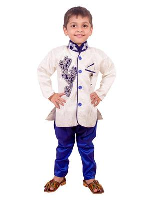 Deepak N Divya Bsw002 Cream Boys Serawni With Blue Paiping