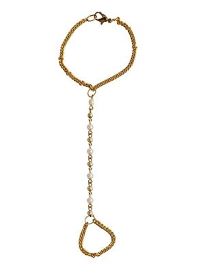 Crunchy Fashion CFA0015  Golden Pearl Women Anklet