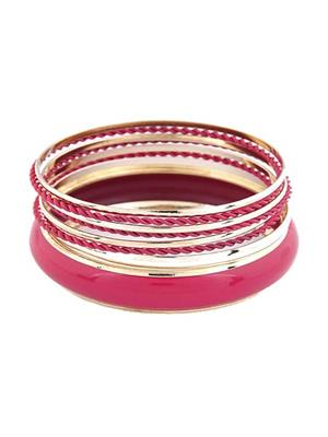 Crunchy Fashion CFB0104 Pink Women Bangle Set