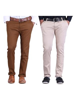 Ansh Fashion Wear CH-30-37 Multicolored Men Chinos Set Of 2