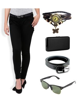 Ansh Fashion Wear CH-B-RP Black Women Chinos With Watch, Belt, Sunglass & Card Holder