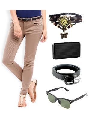 Ansh Fashion Wear CH-DB-RP Beige Women Chinos With Watch, Belt, Sunglass & Card Holder