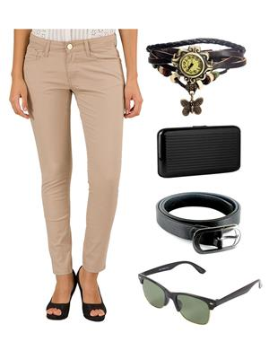 Ansh Fashion Wear CH-LT-RP Beige Women Chinos With Watch, Belt, Sunglass & Card Holder