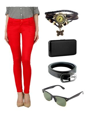 Ansh Fashion Wear CH-RD Red Women Chinos With Watch, Belt, Sunglass & Card Holder