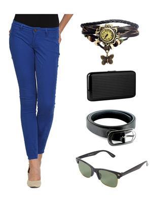 Ansh Fashion Wear CH-ROYAL-RP Blue Women Chinos With Watch, Belt, Sunglass & Card Holder