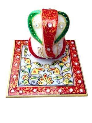 Chitrahandicraft Multicolor  Marble Flower Ganesh Chowki