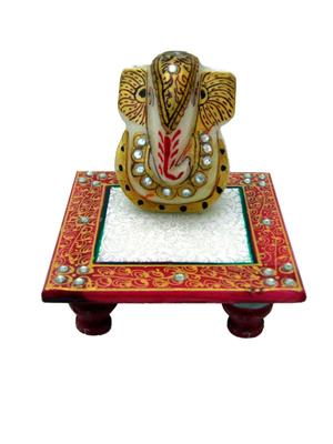 Chitrahandicraft Multicolor  Marble Chowki Ganesh
