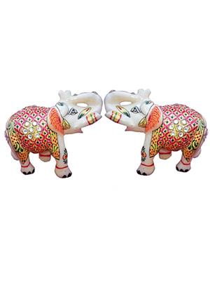 Chitrahandicraft Multicolor  Marble Decorative Elephant Pair