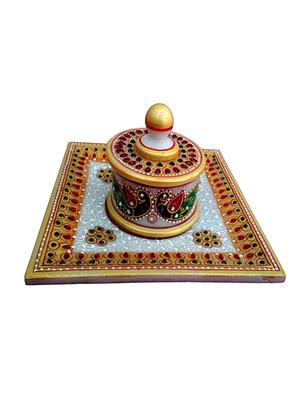 Chitrahandicraft Multicolor  Marble  Tray Set
