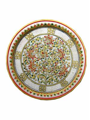 Chitrahandicraft Multicolor  Marble Flower Work Plate