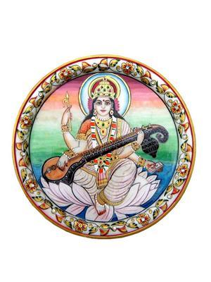 Chitrahandicraft Multicolor Marble Sarsawati Plate