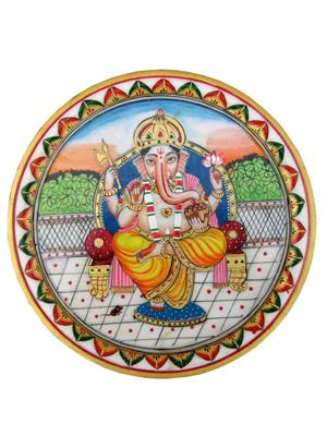 Chitrahandicraft Multicolor Marble Ganesh Plate