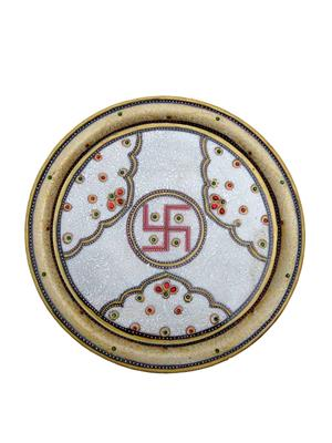 Chitrahandicraft Multicolor  Marble Decorative Plate