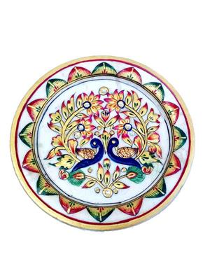 Chitrahandicraft Multicolor  Marble Myure Plate