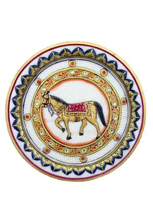 Chitrahandicraft Multicolor  Marble Decorative Horse Plate