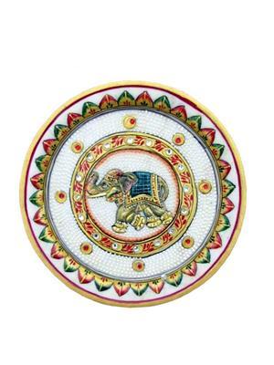 Chitrahandicraft Multicolor  Marble Black elephant Plate