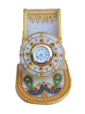 Chitrahandicraft Multicolor  Marble Mobile Stand With Clock
