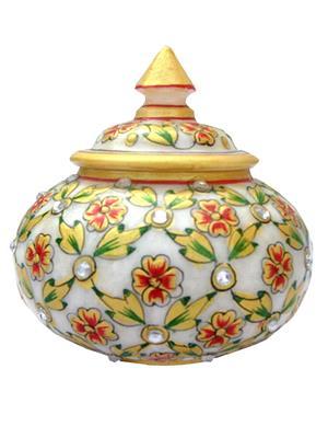 Chitrahandicraft Multicolor marble Powder bowle
