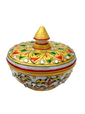 Chitrahandicraft Multicolor Marble Powder Box