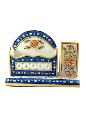 Chitrahandicraft Multicolor  Marble pen stand with card holder
