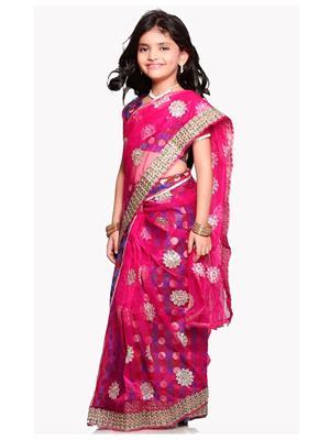 SareeGalaxy CKIC118 Pink Girl Saree