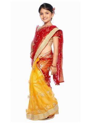 SareeGalaxy CKIC127 Yellow Girl Saree