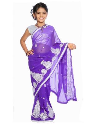 SareeGalaxy CKIC137A Purple Girl Saree