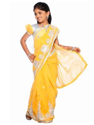 SareeGalaxy CKIC137B Yellow Girl Saree