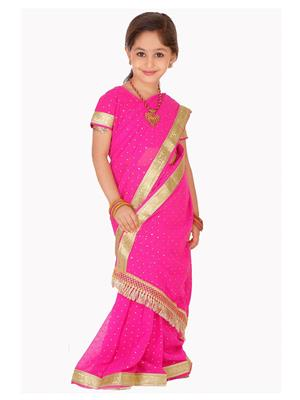 SareeGalaxy CKIC205C Pink Girl Saree