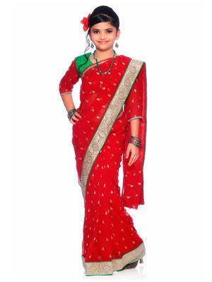 SareeGalaxy CKID142R Red Girl Saree