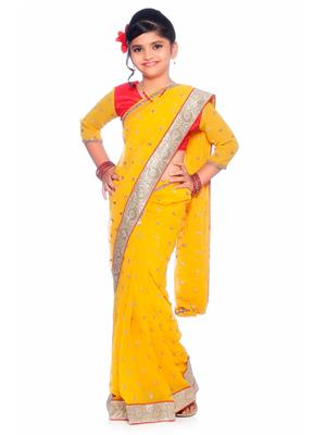 SareeGalaxy CKID142Y Yellow Girl Saree