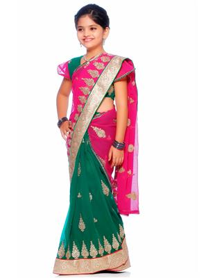 SareeGalaxy CKID146 Green Girl Saree