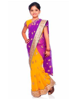 SareeGalaxy CKID151Y Yellow Girl Saree