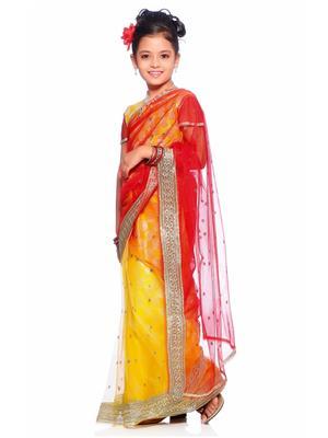 SareeGalaxy CKID153 Yellow Girl Saree