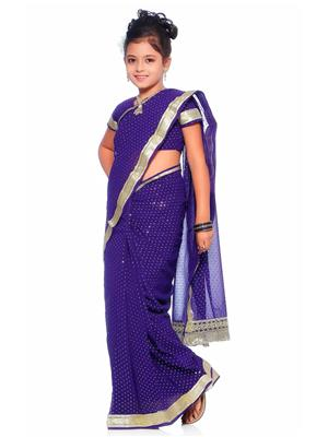 SareeGalaxy CKID205B Blue Girl Saree