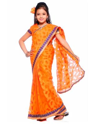 SareeGalaxy CKID221O Orange Girl Saree