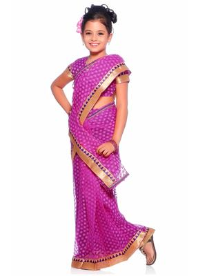 SareeGalaxy CKID221P Purple Girl Saree