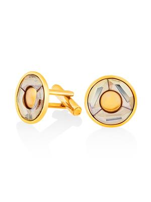 Mahi Fashion Jewellery Shadow Golden Stone Cufflink
