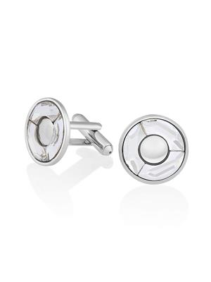 Mahi Fashion Jewellery Round White Stone Cufflink