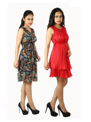 Modish Cmb2-1003Bk-Yl-Prl-Rd Multicolored Women Top Set Of 2